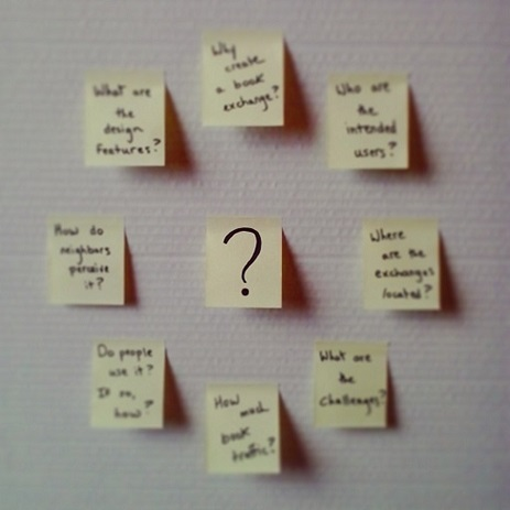 post-it note array of early neighborhood book exchange questions.